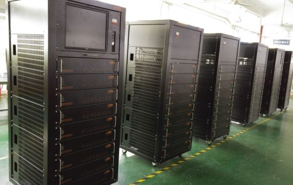 36 channels of Neware BTS9000 on a rack